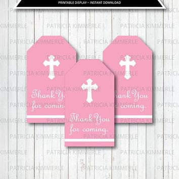 Printable Thank You Tag, Holy First Communion, Baptism, Girl's First Communion Decorations, Bible,Favors,Favor Tags, Thank You, Loot Bag Tag