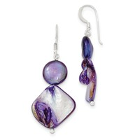 Sterling Silver Dark Purple Mother of Pearl & FW Cultured Pearl Ear QE5928