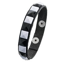 White Studs Leather Wristband