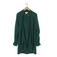 vintage slouchy cardigan sweater, forest green bouclé cardigan, 90s long duster sweater with pockets - womens s / m / l
