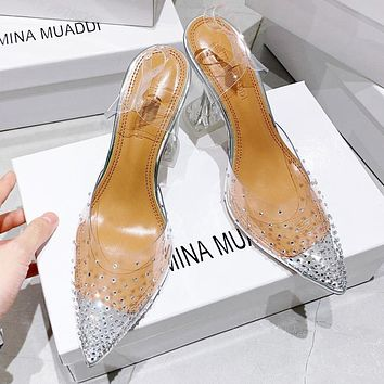 AMINA MUADDI New Fashion Women Personality Transparent Pointed Single Shoes Sandals High heels
