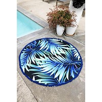 Summer Round Oversized Beach Blanket Towel - Tropical Navy and Green