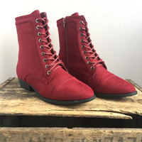 Lucy Laced Boot in Red Suede