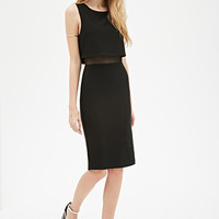 Flounced Mesh-Paneled Sheath Dress