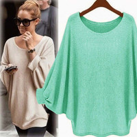 Plain Sleeve Loose Sweater