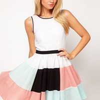 ASOS Skater Dress With Colourblock Skirt at asos.com