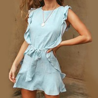Boho Ruffle Elegant Dress Evening Short Casual Dress Bow Sleeveless  Women Party Dress
