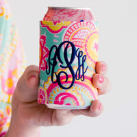 Monogrammed Summer Paisley Coozie