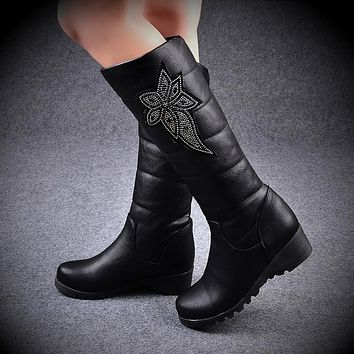 Rhinestone Women Knee High Boots Wedges Shoes Woman 2016 3475