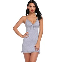Cotton Nightgowns Plus Size Women Sexy Home Wear Nightdress Lace V-Neck Sleeveless Nightwear Female Sleep Dress