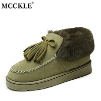 MCCKLE Ladies Fashion Tassel Warmer Plush Suede Casual Slip On Rubber Winter Ankle Snow Boots 2017 Woman Comfortable Black Shoes