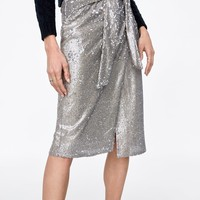 KNOTTED SEQUIN SKIRT