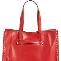 Valentino Rockstud Soft Leather Tote in Red