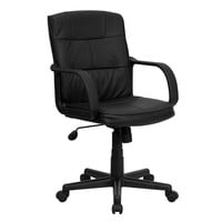 Flash Furniture Mid-Back Black Leather Swivel Task Chair with Nylon Arms [GO-228S-BK-LEA-GG]