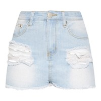 Light Wash Ripped Denim Short