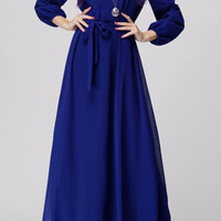 Blue Long Sleeve Drawstring Chiffon Maxi Dress