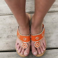 Santorini Orange Embellished Thong Cork Wedges