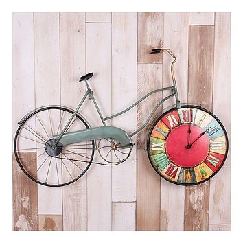 Vintage Bicycle Iron Wall Clock Table Decoration