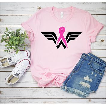 Wonder Woman Breast Cancer Awareness  - Ruffles with Love - RWL - Unisex Tee - Graphic Tee