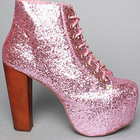 The Lita Shoe in Pink Glitter by Jeffrey Campbell Shoes | Karmaloop.com - Global Concrete Culture