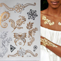 Butterfly Flash Metallic Temporary Tattoo Gold Silver Body Art