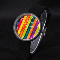 Good Price Great Deal Trendy Awesome Gift Designer's New Arrival Stylish Stripes Suede Watch [9439560516]