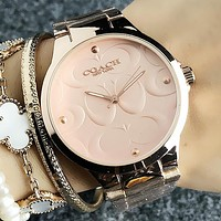 Coach Stylish Women Men Movement Quartz Watches Couple Wristwatch
