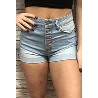 Hazel Button Shorts- Light