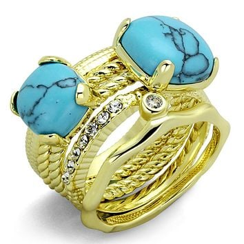 Gold Band Ring LO3650 Gold Brass Ring with Synthetic in Sea Blue