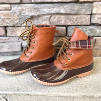 AKIRA - TAN Plaid Cuff All Weather Duck Boots