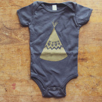Asphalt Gray 100% Cotton GOLD TEEPEE Infant Baby One-piece