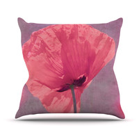 "Iris Lehnhardt ""Poppy"" Pink Flower Throw Pillow"