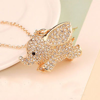 Rhinestone Golden Elephant Necklace