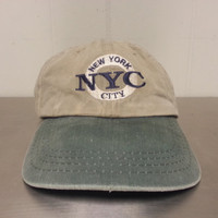 Vintage 90's NYC New York City Light Brown Green Strapback Dad Hat Made By Cobra Caps