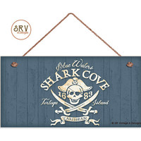 """Pirate Beach Sign, Shark Cove,  Caribbean Weatherproof, 5""""x10"""" Wall Plaque, Beach House, Ocean Waters, Skull Sign, Made To Order"""