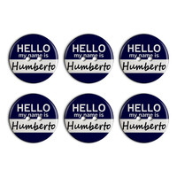 Humberto Hello My Name Is Plastic Resin Button Set of 6