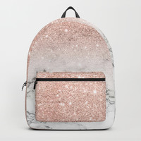 Modern faux rose pink glitter ombre white marble Backpack by girlytrend
