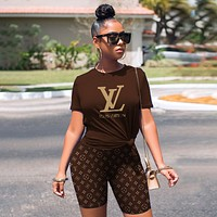 Louis Vuitton LV Women's Casual Letter Printing Two-Piece Set Coffee Top Shirt Shorts
