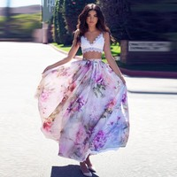 Floral Printed Elastic Waist Pleated Beach Vintage Summer Full Skirt
