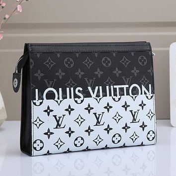 LV Louis Vuitton Colorblock Letter Printing Cosmetic Bag Clutch Briefcase #1