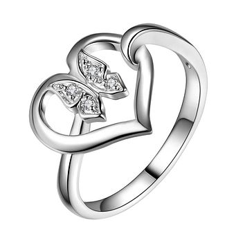 Fashion 925 Love Heart Butterfly Silver Plated Ring For Women