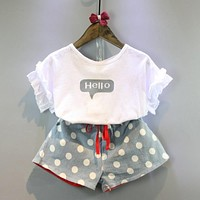 Girls Clothes Girls Clothing Sets Kids Clothes Cartoon Children Clothing Hello Tops+Shorts Clothing Set