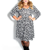 Domino Dollhouse - Plus Size Clothing: Babydoll Dress in Black + White Skulls