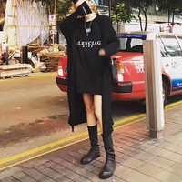 """Balenciaga"" Women Casual Fashion Letter Long Sleeve Cardigan Long Section Hooded Windbreaker Coat"