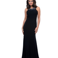 2014 Prom Dresses - Black Jersey Rhinestone Open Back Empire Long Dress