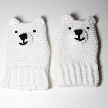 Kids Polar Bear fingerless gloves/ crochet white gloves/ childrens animal fingerless mittens