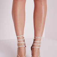 LACE UP POINTED TOE HEELS NUDE