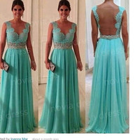 Open Back Mint Chiffon Lace Prom Dress,Sexy Backless Lace Prom Dresses Gown ,Custom Made Evening Dress
