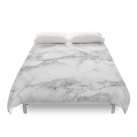 Marble Duvet Cover, Texture Photo, White Stone, Grey Pattern, Gray Minimalist Bedding, Modern Design, Traditional Bedding, Full, Queen, King