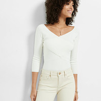 fitted crossover front v neck sweater